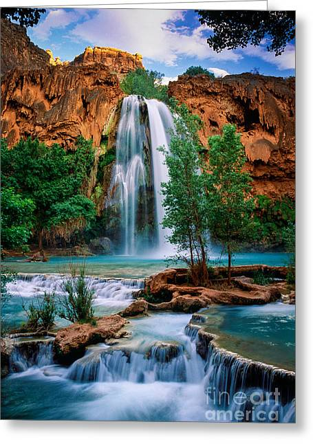 Cliffs Photographs Greeting Cards - Havasu Cascades Greeting Card by Inge Johnsson