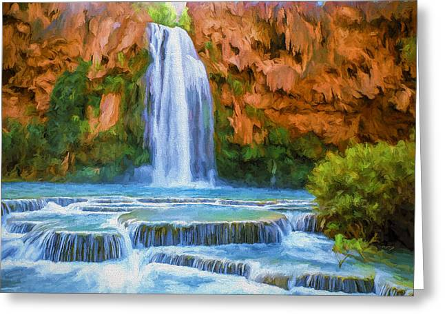 Fine Paintings Greeting Cards - Havasu Falls Greeting Card by David Wagner