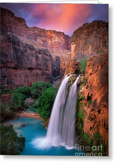 River. Clouds Greeting Cards - Havasu Falls Greeting Card by Inge Johnsson