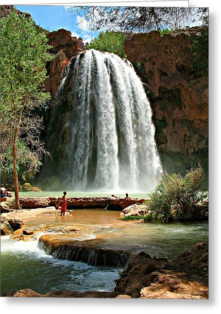 Landscape Posters Greeting Cards - Havasu Falls Greeting Card by Stephen Stookey