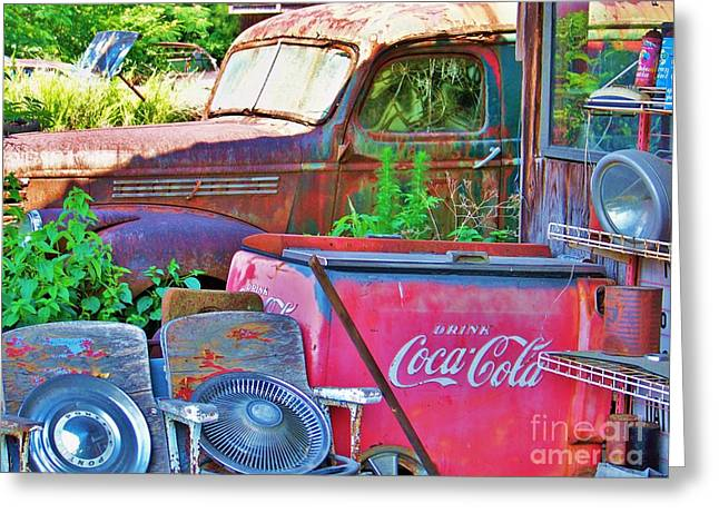 Glass Reflecting Greeting Cards - Have A Coke Greeting Card by Chuck  Hicks
