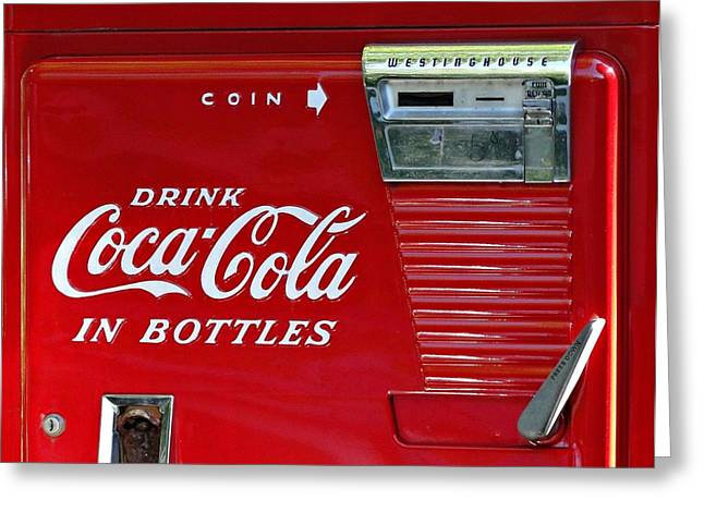 Cabin Wall Greeting Cards - Have a Coke Vintage Vending Machine Greeting Card by Movie Poster Prints