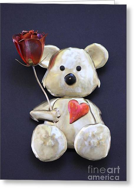 Roses Sculptures Greeting Cards - Have a Heart Teddy Bear Greeting Card by Melody Ballard