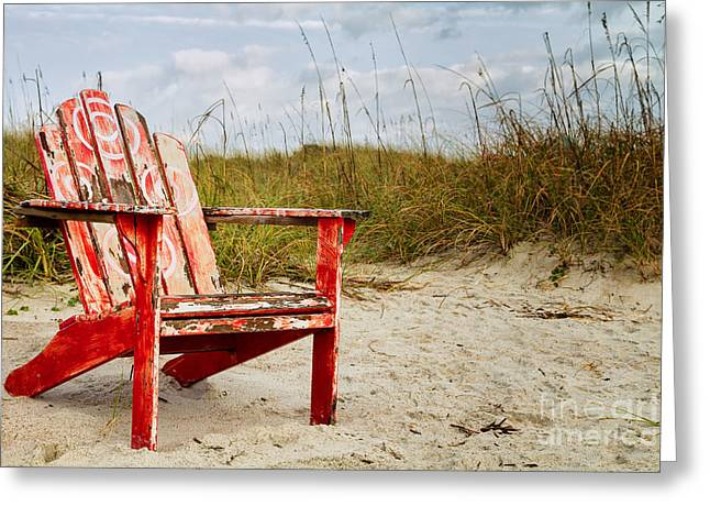 Adirondack Chairs On The Beach Greeting Cards - Have a Seat Adirondack Chair on the Beach Amelia Island Florida Greeting Card by Dawna  Moore Photography