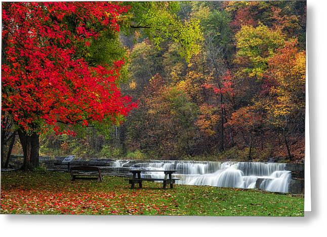 Taughannock Falls State Park Greeting Cards - Have a seat Greeting Card by Mark Papke