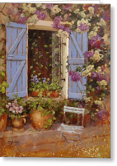Blue Shutters Greeting Cards - Have a Seat Two Greeting Card by Laura Lee Zanghetti