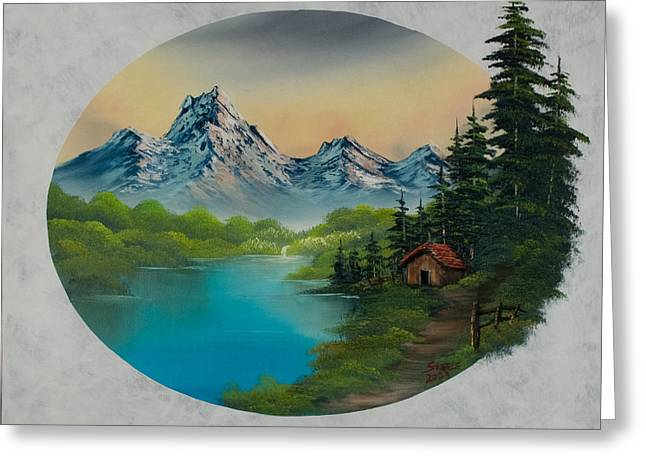 Recently Sold -  - Bob Ross Paintings Greeting Cards - Cabin in the Valley Greeting Card by C Steele