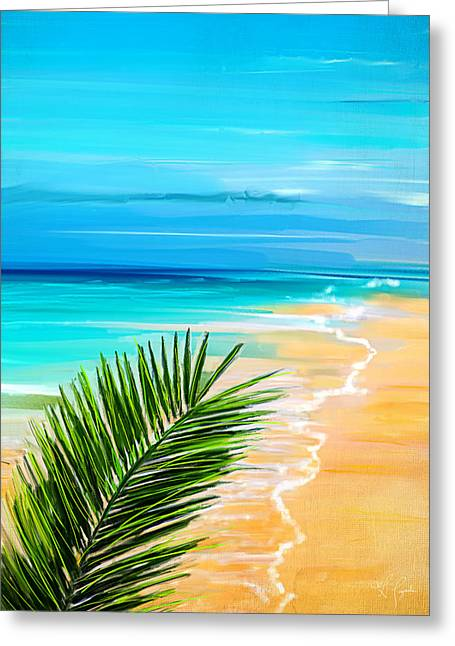 Abstract Seascape Art Greeting Cards - Haven Of Bliss Greeting Card by Lourry Legarde