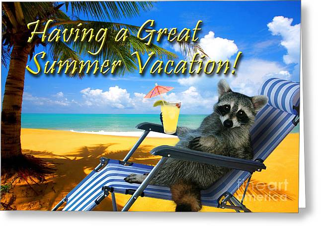 Wildlife Celebration Greeting Cards - Having a Great Summer Vacation Raccoon Greeting Card by Jeanette K