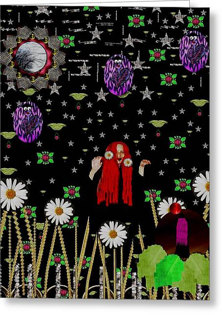 Tropical Rainforests Mixed Media Greeting Cards - Having Fun In the Beautiful dark forest Greeting Card by Pepita Selles