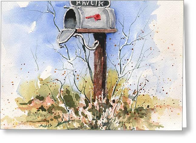 Havlik's Mailbox Greeting Card by Sam Sidders