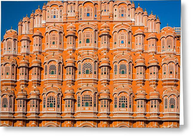 Native Architecture Greeting Cards - Hawa Mahal Moon Greeting Card by Inge Johnsson
