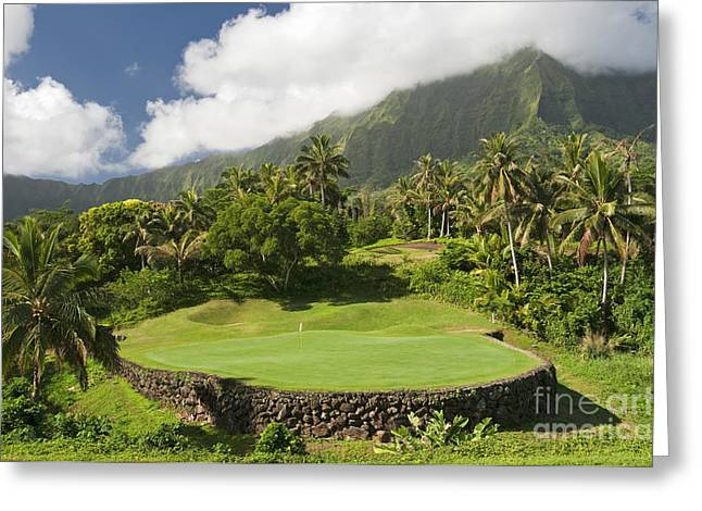 Tropical Golf Course Greeting Cards - Hawaii Golf Course Landscape Greeting Card by Sheldon Kralstein