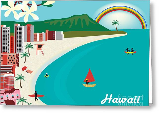 Skyline Print Greeting Cards - Hawaii Greeting Card by Karen Young