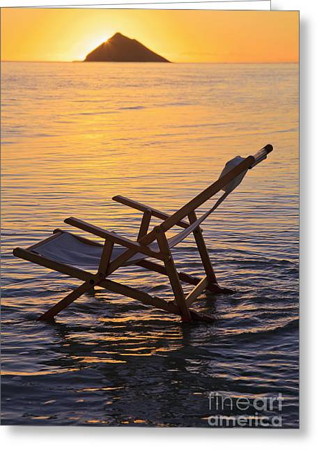 Sand Art Greeting Cards - Hawaii, Lanikai, Empty beach chair at sunset. Greeting Card by Tomas del Amo