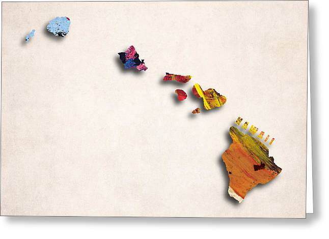 Abstract Map Greeting Cards - Hawaii Map Art - Painted Map of Hawaii Greeting Card by World Art Prints And Designs