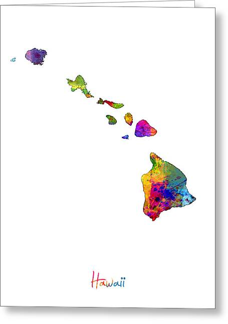 Honolulu Greeting Cards - Hawaii Map Greeting Card by Michael Tompsett