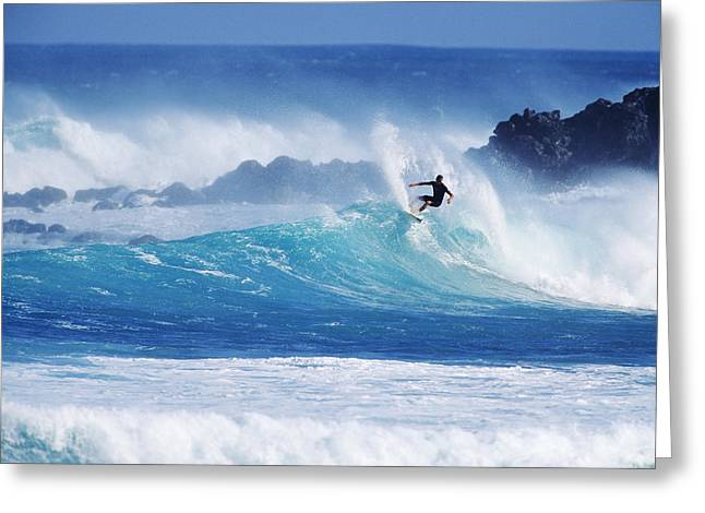 Surfing Photos Greeting Cards - Hawaii, Maui, Hookipa Beach Park, Pavillions, Surfer Carving Top Of Wave. Greeting Card by Ron Dahlquist