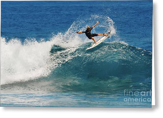Technical Greeting Cards - Hawaii, Maui, Kapalua, Pro Surfer Doing A High Performance Turn _Matt Meola_ Greeting Card by MakenaStockMedia