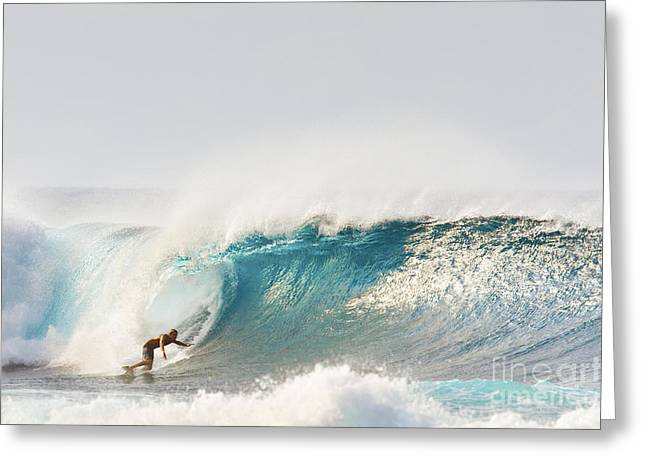 Technical Greeting Cards - Hawaii, Maui, Kapalua, Surfer Riding A Wave Greeting Card by MakenaStockMedia