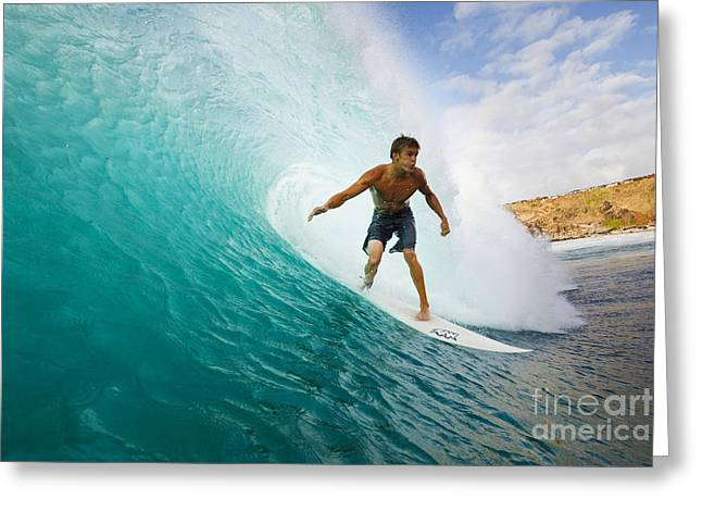 Technical Greeting Cards - Hawaii, Maui, Kapalua, Surfer Tides Perfect Wave At Honolua Bay, View From Water Level Into The Barrel Greeting Card by MakenaStockMedia