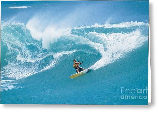 Kite Surfing Greeting Cards - Professional Surfer carves a big turn kiteboarding. Greeting Card by MakenaStockMedia
