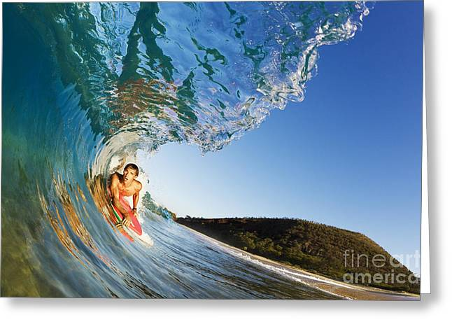 Smooth Ride Greeting Cards - Hawaii, Maui, Makena - Big Beach, Boogie Boarder Riding Barrel Of Beautiful Wave, Sunrise Light. Greeting Card by MakenaStockMedia