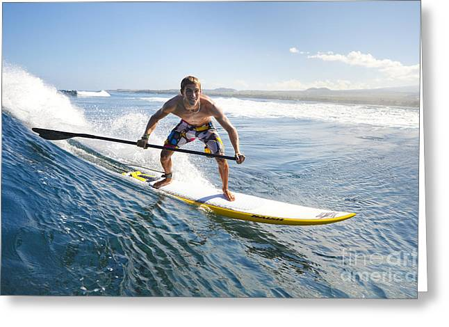 Fulfilled Greeting Cards - Hawaii, Maui, Paia, Athletic Stand Up Paddle Boarder Rides Wave Greeting Card by MakenaStockMedia
