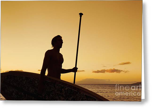 Surfing Art Greeting Cards - Hawaii, Maui, Wailea, Silhouette of Young Man with Stand Up Paddle Board at Sunset Greeting Card by MakenaStockMedia
