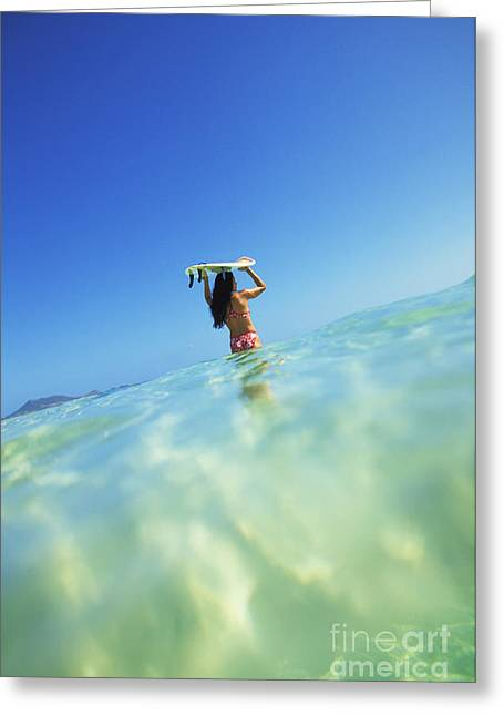 Surfing Art Greeting Cards - Hawaii, Oahu, Lanikai Beach, Over_Under View Of Woman Holding Surfboard On Head Greeting Card by Dana Edmunds