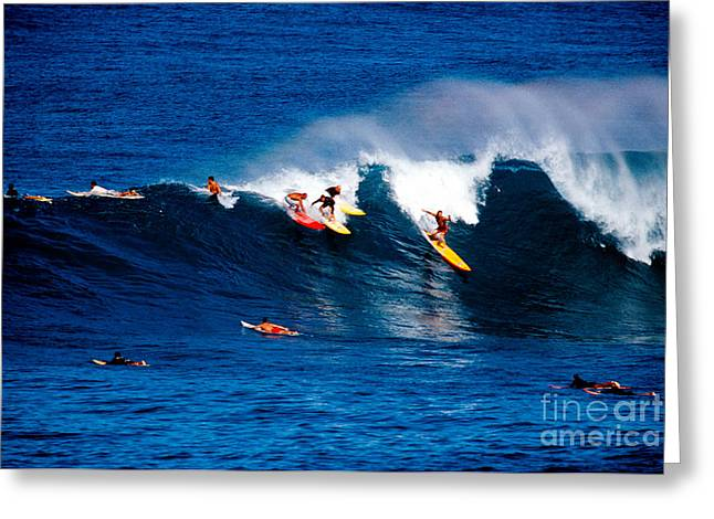 Elevated Greeting Cards - Hawaii Oahu Waimea Bay Surfers Greeting Card by Anonymous