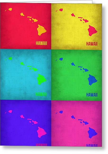 Maps Greeting Cards - Hawaii Pop Art Map 1 Greeting Card by Naxart Studio