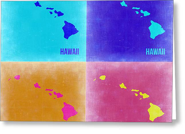 Hawaii Pop Art Map 2 Greeting Card by Naxart Studio