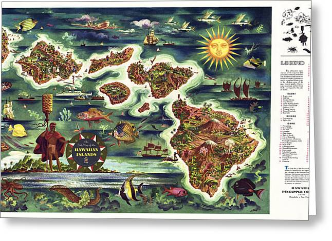 Post-war Greeting Cards - Hawaii Post W W Ii Tourist Promotion Map  1950 Greeting Card by Daniel Hagerman