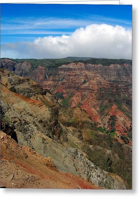 Hawaii Pyrography Greeting Cards - Hawaii Red rocks Greeting Card by Deidre Harris
