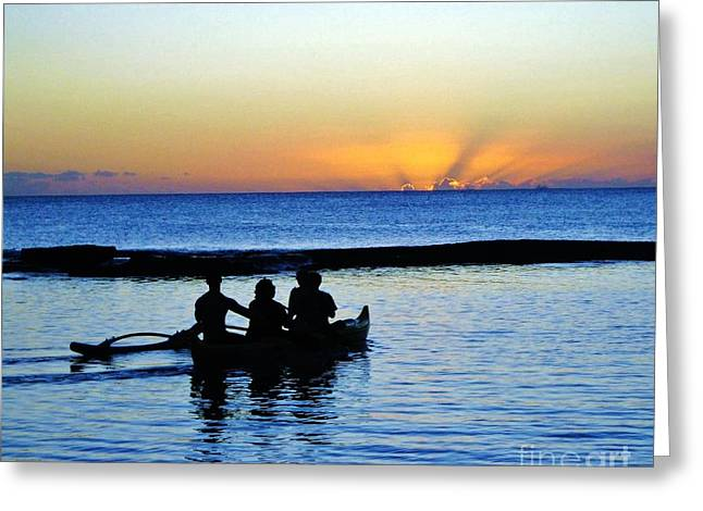 Pacific Ocean Prints Greeting Cards - Hawaii Rowing Greeting Card by Marsha Heiken