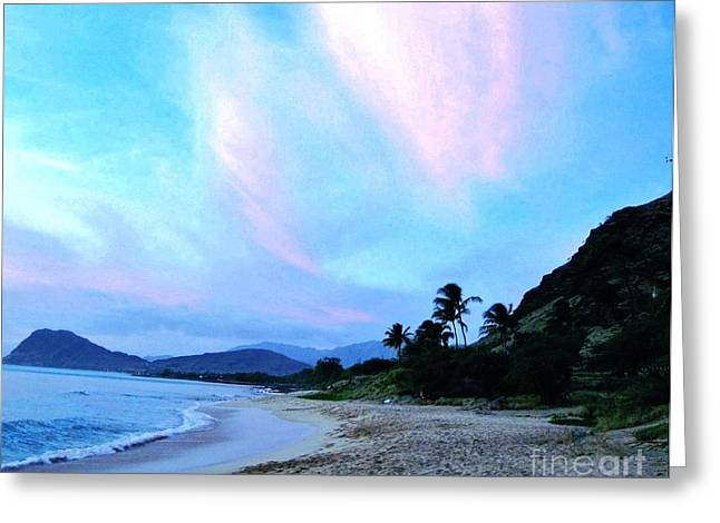 Clouds Posters Greeting Cards - Hawaii Shoreline Greeting Card by Marsha Heiken