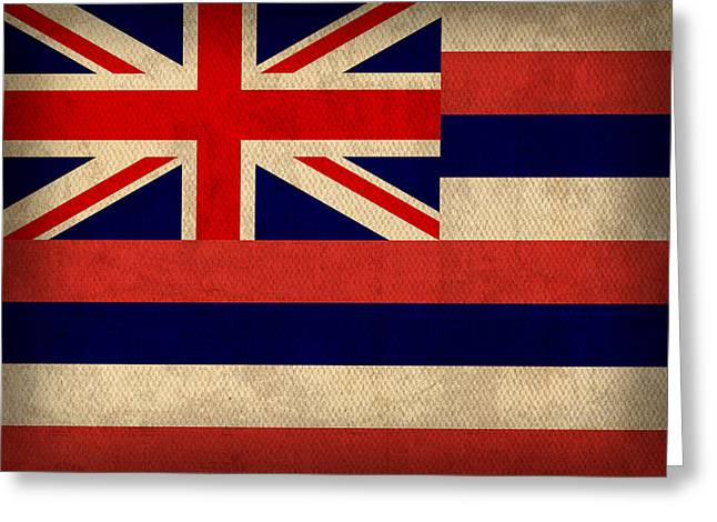 Hawaii Mixed Media Greeting Cards - Hawaii State Flag Art on Worn Canvas Greeting Card by Design Turnpike