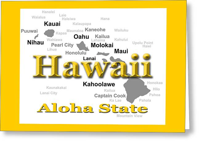 Molokai Greeting Cards - Hawaii State Pride Map Silhouette  Greeting Card by Keith Webber Jr
