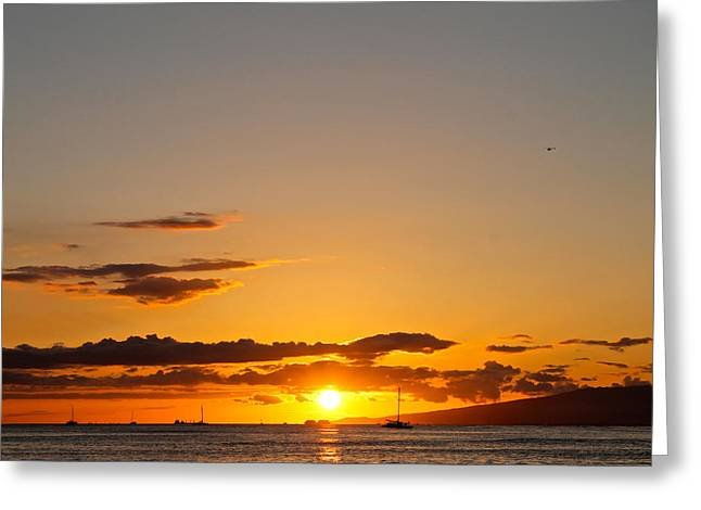 Hawaii Pyrography Greeting Cards - Hawaii Sunset Greeting Card by Eric Wadnal