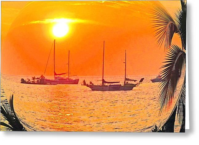 Jerome Stumphauzer Greeting Cards - Hawaii Sunset in a Bubble Greeting Card by Jerome Stumphauzer