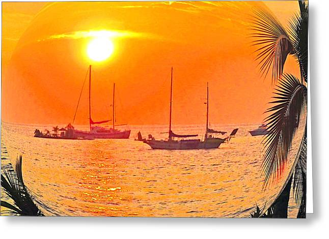 Hawaii Sunset In A Bubble Greeting Card by Jerome Stumphauzer