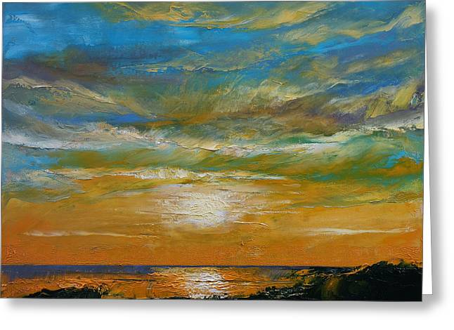 Hawaiin Greeting Cards - Hawaii Sunset Greeting Card by Michael Creese