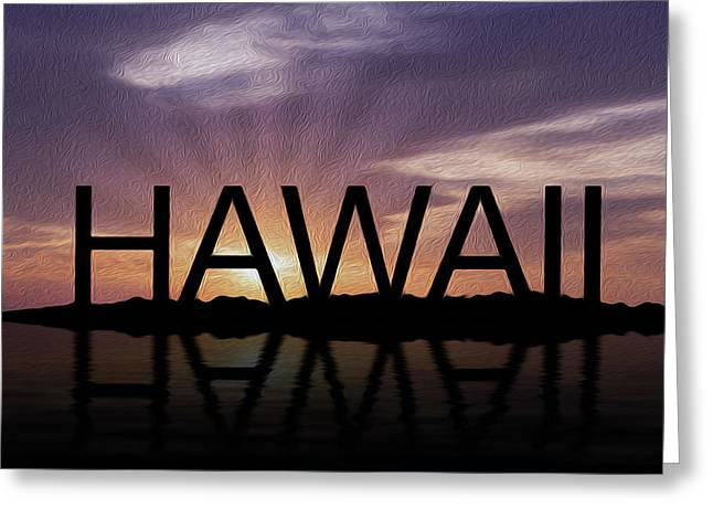Calm Waters Mixed Media Greeting Cards - Hawaii Tropical Sunset Greeting Card by Aged Pixel