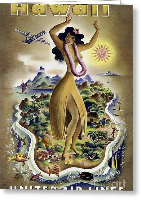 Airline Greeting Cards - Hawaii Vintage Travel Poster Greeting Card by Jon Neidert