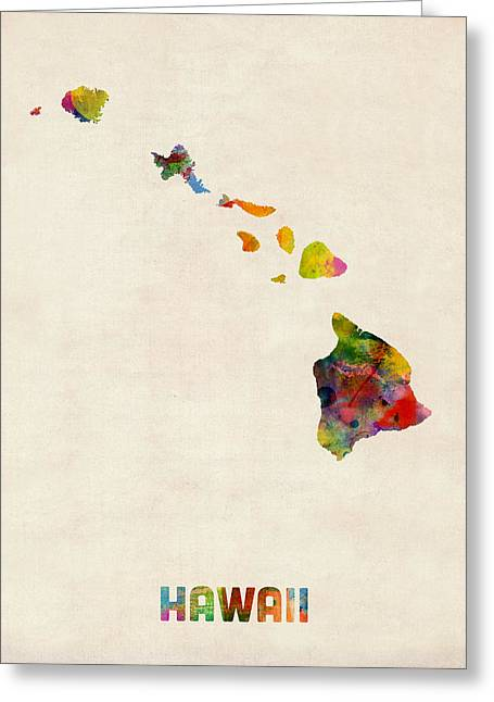 Cartography Digital Greeting Cards - Hawaii Watercolor Map Greeting Card by Michael Tompsett