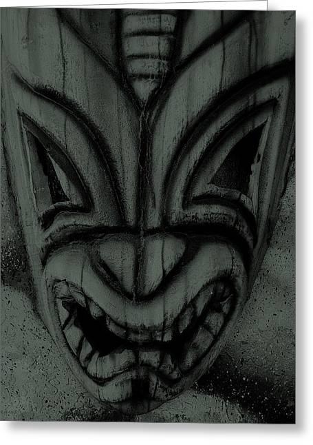 Polynesian Pop Greeting Cards - Hawaiian Charcoal Mask Greeting Card by Rob Hans