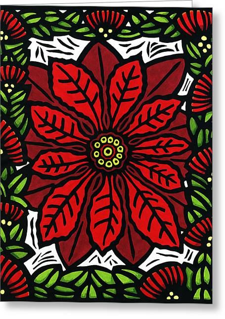 Recently Sold -  - Lino Greeting Cards - Hawaiian Christmas Joy Greeting Card by Lisa Greig
