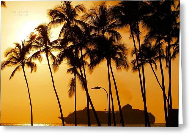 Sunset Framed Prints Greeting Cards - Hawaiian  Cruise Greeting Card by Athala Carole Bruckner