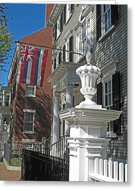Federalist Style Greeting Cards - Hawaiian Flag in Salem Greeting Card by Barbara McDevitt